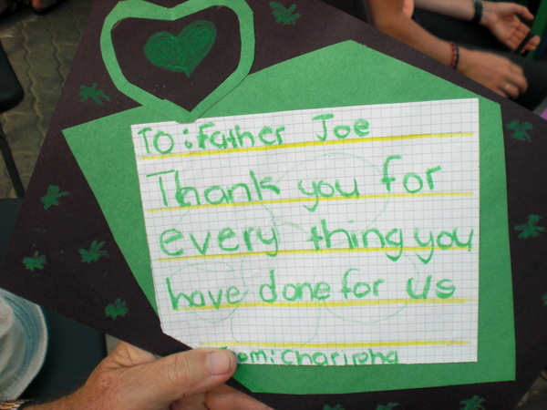 Thank you letter for Father Joe